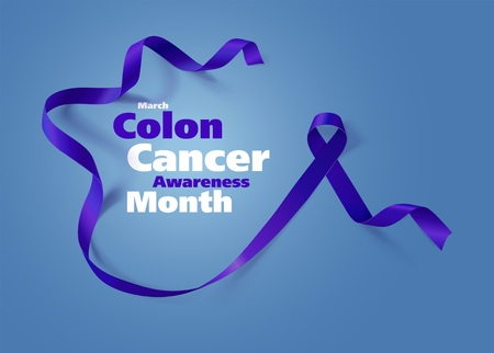 Colon Cancer Awareness Calligraphy Poster Design Realistic Dark Blue Ribbon March Is Cancer Awareness Month Vector Royalty Free Vector Graphics