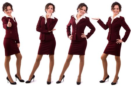 Whole-length portrait of business woman with brown hair is standing. Brunette businesswoman dressed in red suit. Isolated over white background.