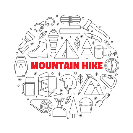 Logo for shirts. Black-and-white circular logo with a picture of equipment for mountain hiking and trekking. Made in a linear style.