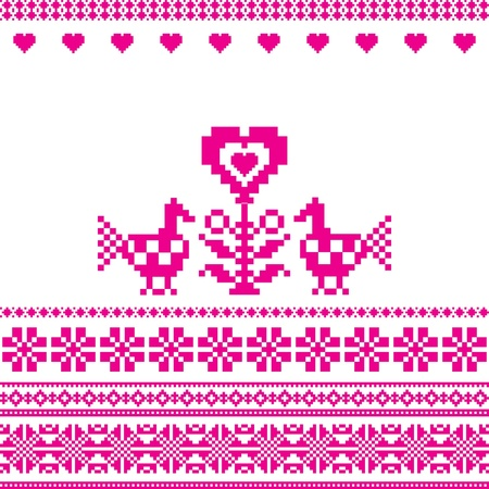 Birds and heart embroidery folk motif love sign