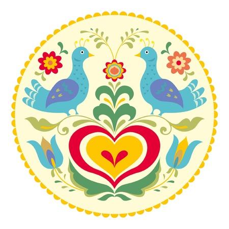 Birds and heart, decorative illustration traditional folk style