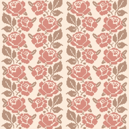 Decorative embroidered roses; seamless pattern in retro style