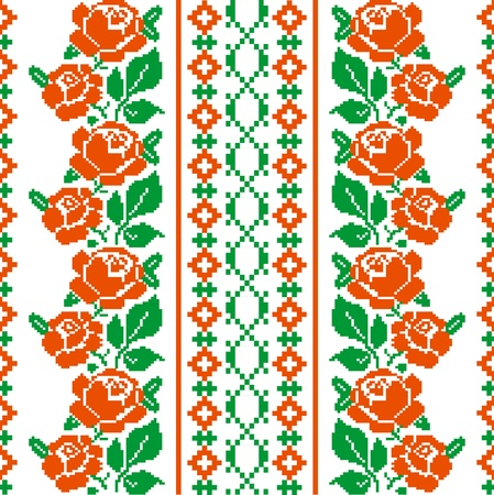 Folk style textile pattern with stylized roses