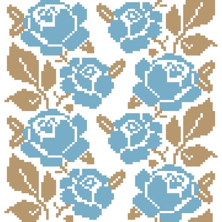 Decorative seamless pattern with embroidered roses