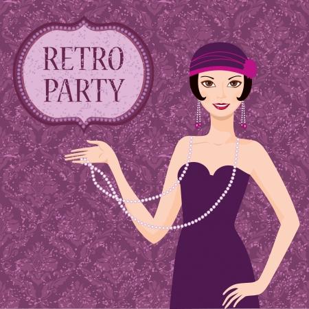 Retro party invitation card pretty flapper girl 20s