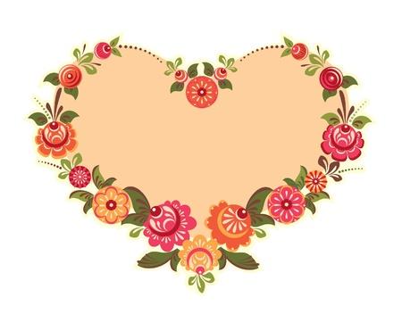 Ilustración de Decorative flower frame in shape of heart - Imagen libre de derechos