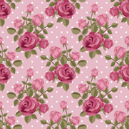 Pink rose wallpaper seamless pattern