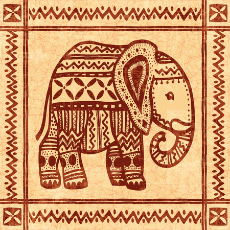 Elephant tribal african vintage ornamental vector illustrationのイラスト素材