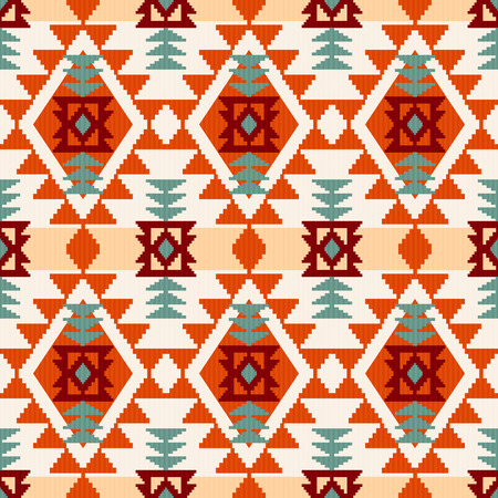 Ilustración de Abstract geometric seamless pattern, native american style inspired vector illustration - Imagen libre de derechos