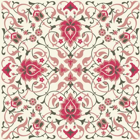 Illustration pour Traditional ethnic floral tile design in Eastern style. - image libre de droit