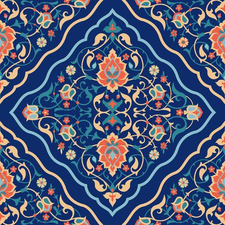 Illustration pour Arabic tile design. Traditional Islamic ornamental seamless pattern. Ethnic floral background - image libre de droit