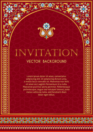 Illustration pour Ornate invitation template in red and gold - image libre de droit