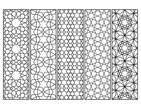 Illustration pour Morocñan mosaic bookmarks in black and white, adult coloring page - image libre de droit