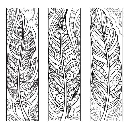 Illustration pour Hand drawn feathers in zen art style. Ornate coloring bookmarks. Vector illustration. - image libre de droit
