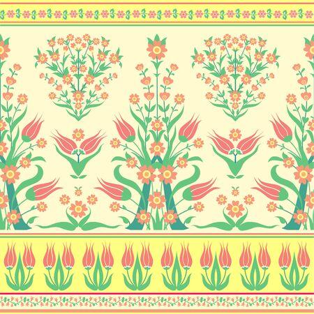 Photo pour Ornate pattern of tulips, floral background - image libre de droit