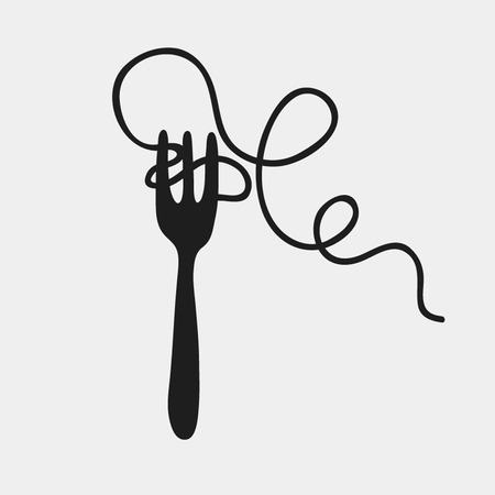 Spaghetti and fork silhouette, vector illustration