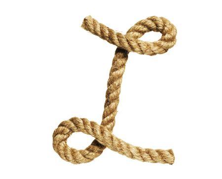 old natural fiber rope bent in the form of letter L