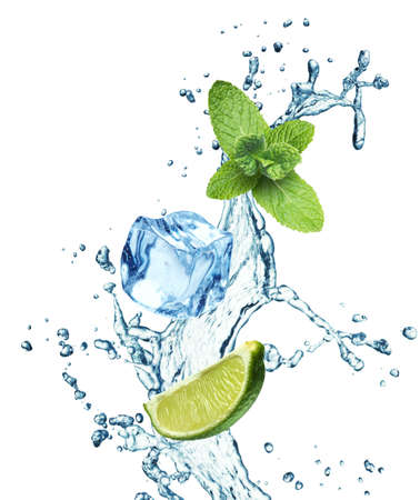 Ice cubes, mint leaves, lime and water splash on a white background