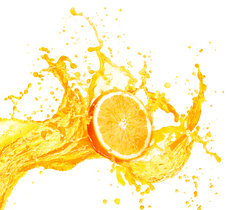 Foto de Orange juice splashing with its fruits isolated on white background - Imagen libre de derechos