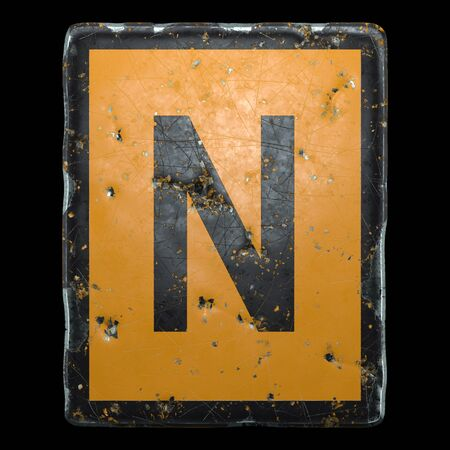 Public road sign orange and black color with a capital letter N in the center isolated on black background. 3d rendering