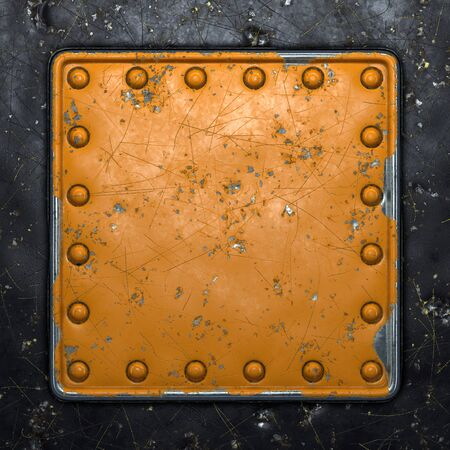 Photo pour Rust metal with rivets in the shape of a square in the center on black metal background. 3d rendering - image libre de droit