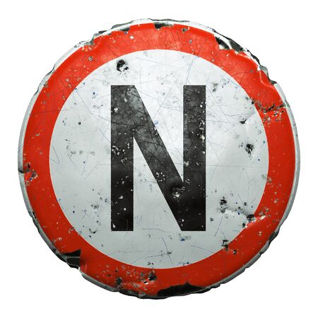 Public road sign in red and white with a capitol letter N in the center isolated on white background. 3d rendering