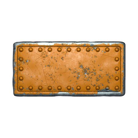 Photo pour Rusty metal strip with rivets on the center against on white background 3d rendering - image libre de droit
