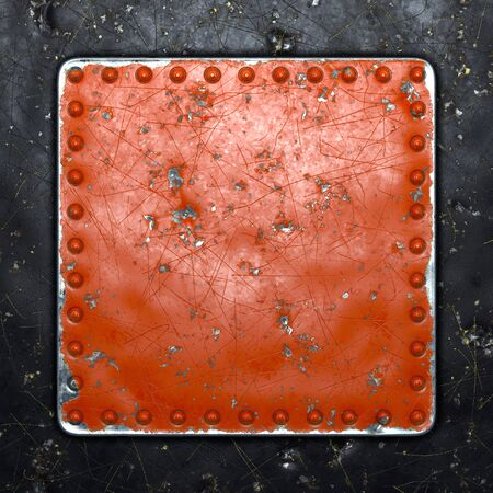 Photo pour Painted red metal with rivets in the shape of a square in the center on black metal background. 3d rendering - image libre de droit