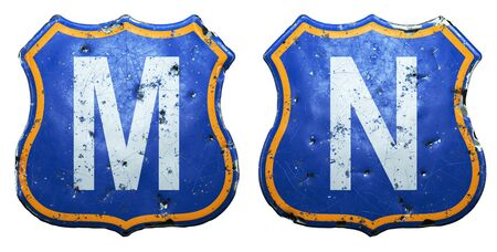 Set of Public road signs in blue and orange color with a capitol white letters M, N in the center isolated white background. 3d rendering