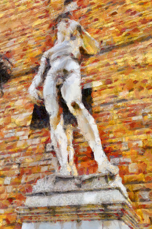 FLORENCE, ITALY - APRIL 6, 2014: A copy of the sculpture of Michelangelo's David. Illustration