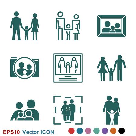 Illustration pour Family icon in flat style. logo, illustration, vector sign symbol for design - image libre de droit