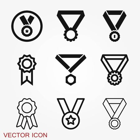 Photo pour Medal icon isolated on background. Vector illustration. Flat design. - image libre de droit