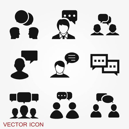 Illustration for Talking icon. Dialogue,contact, conversational symbol isolated on background. - Royalty Free Image