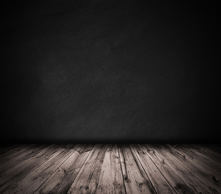 Photo for Black wall and wooden floor interior background - Royalty Free Image