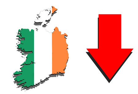 Ireland map on white background and red arrow down