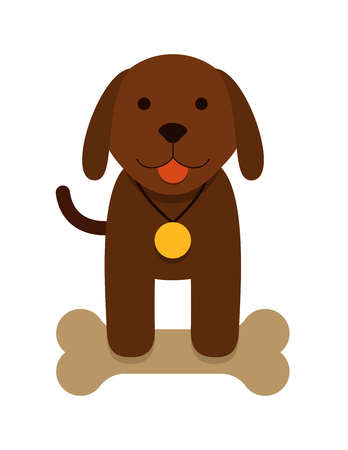 Illustration pour brown puppy dog with bone and with a medal - flat cartoon - image libre de droit
