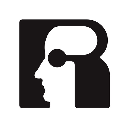 R r  - English font upper case letter - human faces of cyborg robots, for computer theme, science etc, retro style.