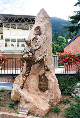 TRENTINO, ITALY - OCTOBER 12: Monument climber set in the mountain resort of Trentino, Italy