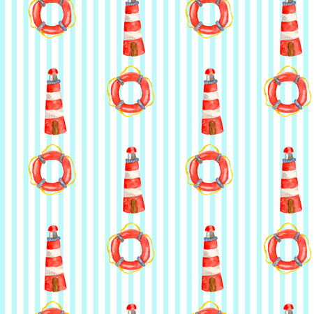 Vector nautical vintage pattern with watercolor lighthouse and lifebuoy