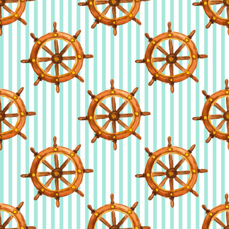Vector nautical vintage saemless pattern with watercolor steering wheel