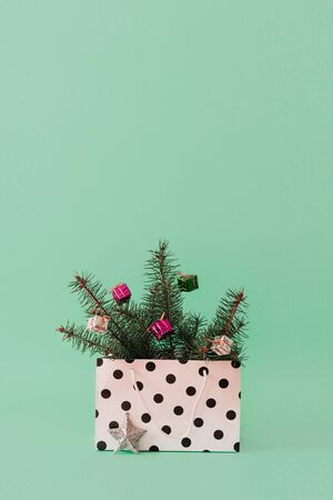 Photo pour Christmas composition with Conifer Evergreen tree branches and bauble ball in gift bag. Christmas and 2020 new year minimal concept on pastel background, copy space - image libre de droit