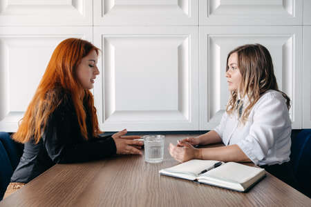 Photo pour Mental health concept. Communication session of woman psychologist and client. Psychotherapy or talk therapy as help people with variety of mental illnesses and emotional difficulties - image libre de droit