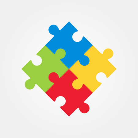 Four puzzle colored pieces vector illustration, isolated on white background.