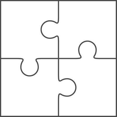 Jigsaw puzzle vector, blank simple template 2x2, four pieces