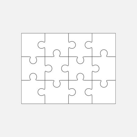Illustration pour Jigsaw puzzle vector, blank simple template 4x3, twelve pieces - image libre de droit