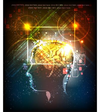 Illustration pour Neon head generating ideas - image libre de droit