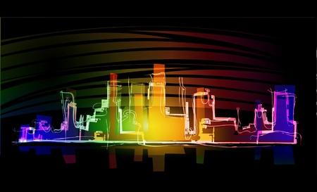 Illustration pour night city neon collection - image libre de droit