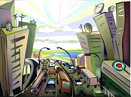 Illustration pour escape from the city illustration - image libre de droit