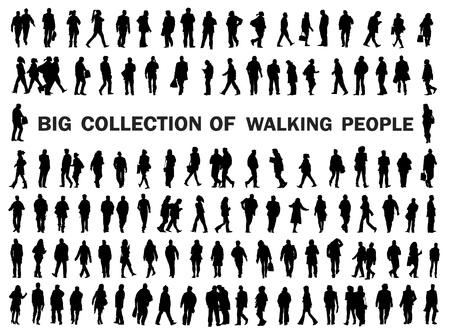 silhouettes of walkin peole, caring bags, luggade, shopping