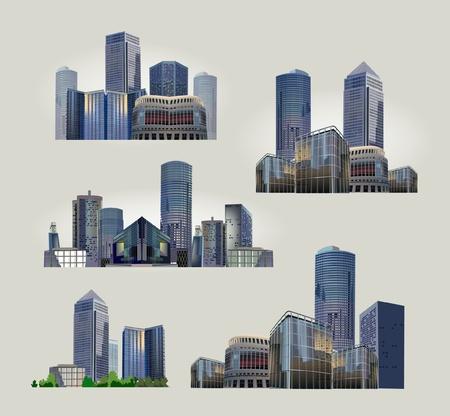 set of modern city views